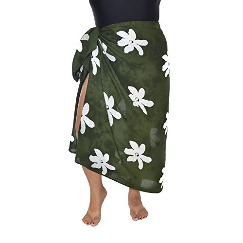 7de90a95112f Casual Movements Women s Plus Size Flower Swimsuit Coverup Olive White