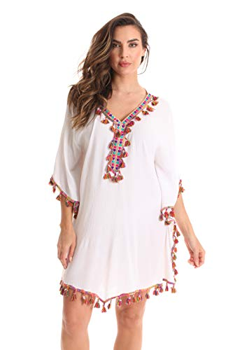 Bubble Tassel - Riviera Sun Ladies Short Caftan Dresses for Women 21974-WHT-M White