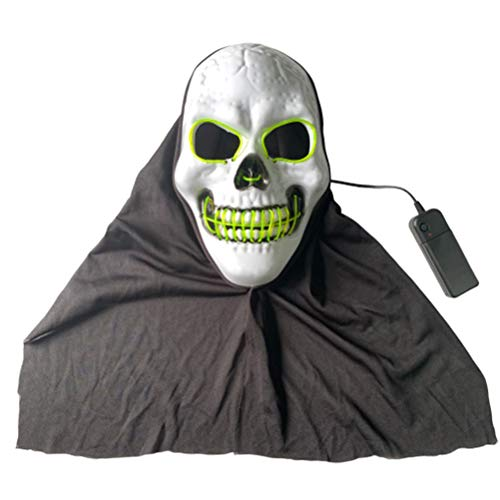 1pc Halloween Party Favors LED Glowing Mask Skull Head Night Mask Scary Head Cover Halloween Party Favors Cosplay Mask without Battery (Green)]()