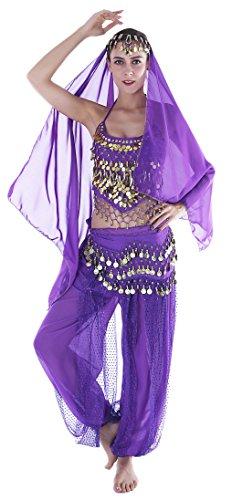 Seawhisper Jasmine Costume Adult Arabian Dancer Outfit Genie Top Pants -