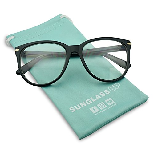 Large Round Horn Rimmed Clear Lens Fashion Oval Eye Glasses Non-Prescription - With Eyeglasses Trim Gold