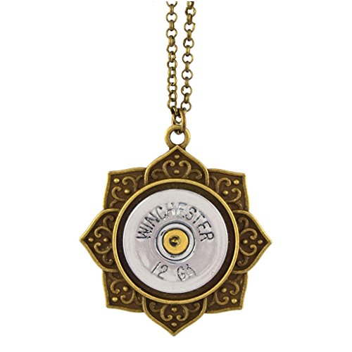 - Little Black Gun Indian Lotus 20 Gauge Shotgun Shell Pendant Necklace, Brass and Silvertone Finish