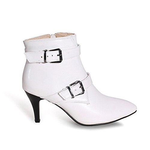 AmoonyFashion Boots White Toe Heels Closed Womens Soft Top Low Material High Zipper Pointed PP4rqax