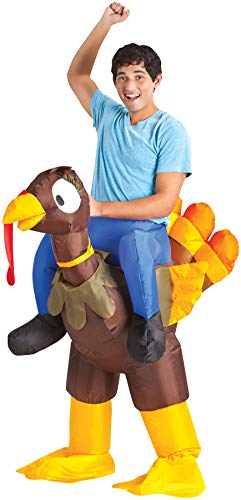 Turkey Rider Inflatable Outfit Funny Theme Party Halloween Fancy Costume, OS -