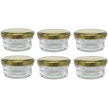 Nakpunar 6 pcs, 2 oz Mason Glass Jars with Gold Lids