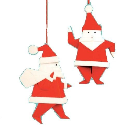 Porcelain Origami Santa - Gift Boxed Festive Hanging Ornament - Assorted Designs, One Selected At - 80 Origami