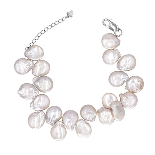 JFUME Baroque Coin Pearl Cultured Freshwater Pearl Bracelet Jewelry Sterling Silver for Women Cultured Coin Pearl Bracelet