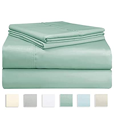 "Pizuna 400 Thread Count Sage Cotton King Sheet Set, 100% Long Staple Cotton Cool Sheets, Satin Bed Sheets Deep Pocket fit Upto 15 inch (Sea Foam Green King Cotton Sheets) - BREATHABLE COOLING SHEETS provided by using specially compacted yarns made from 100% Long Staple Cotton. The Long Staple Cotton Sateen Weave Bed Sheets are Sweat Wicking and Temperature Balancing to keep you cool during summer and warm during winters. These forever Fresh Feeling Pure Natural Cotton Sheets are distinctively Soft, Durable and Smooth Sheets. PERFECT FITTED SHEETS: Cotton Deep Pocket Fitted Sheets with specially patented stitching pattern using thick high quality all around elastic are tight fitting. They fit mattresses from 8"" to 15"" thick. King Size Top sheets: 108"" x 102""; Fully Elasticized Fitted sheet with deep pockets: 78"" x 80"" + 15""; 2 King Size Pillowcases: 20"" x 40"". The King Size Flat sheets & Pillowcases have a stylish 4 inch Hem detailing for the Elegant and Luxurious look. AUTHENTICATED 400 THREAD COUNT FABRIC: These Cool Sheets are soft. They have the everlasting comfort of Luxury 5 Star Hotel Sheets at an AFFORDABLE price. These 400TC Cotton sheets are EASY CARE AND MAINTENANCE - Made from Fade Resistant Dyes, the best quality cotton sheets stay bright even after extended use. Machine wash cold on gentle cycle, tumble dry low.. But use of bleach or creams containing bleaching agent may cause color loss. - sheet-sets, bedroom-sheets-comforters, bedroom - 41tYfg1kfPL. SS400  -"