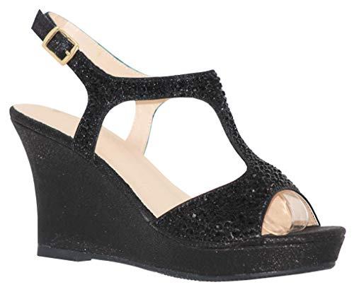 MVE Shoes Women's Open Toe Glitter Wedges Adjustable Strap, WINNI-12 Black 8
