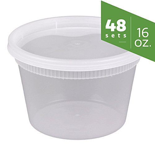 [48 Sets] 16 oz. Plastic Deli Food Storage Containers with Airtight Lids by Comfy Package