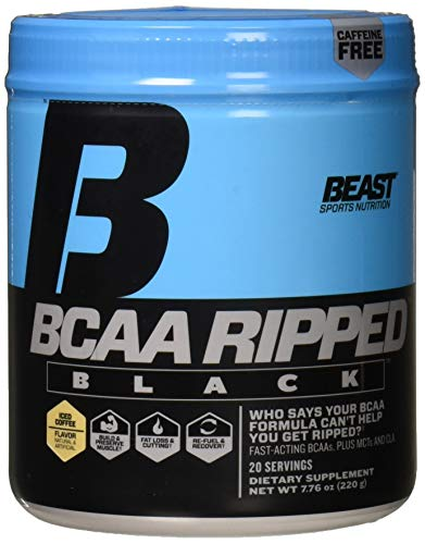 Beast Sports Nutrition - BCAA Ripped Black - Instantized BCAA - Rapid Dispersion - Recover Faster - Burns Fat - Zero Caffeine - Iced Coffee Flavor - 20 Servings