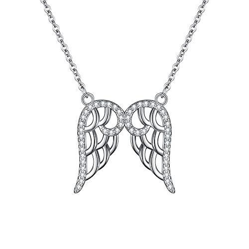 (EleQueen 925 Sterling Silver Full Cubic Zirconia Double Angel Wing Pendant Necklace Clear, 16.5