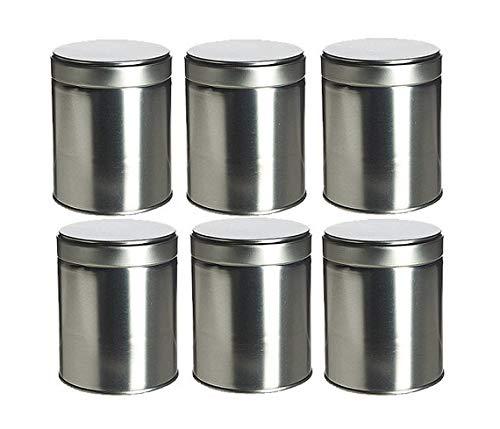 Nakpunar 6 pcs Wide Tea Tin Canister with Twist, Screw Lids - 16 fl oz, 2 cups