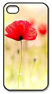 Art Fashion Black PC DIY Case for iPhone 4 Generation Back Cover Case for iPhone 4S with Poppy