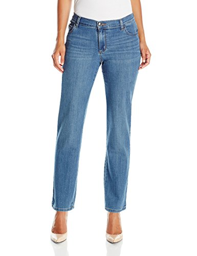 LEE Women's Petite Relaxed Fit Straight Leg Jean, Meridian, 12 (Petite Straight Leg Shorts)
