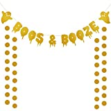 Gold Glittery Boos & Booze Banner and Gold Glittery Circle Dots Garland(25pcs Circle Dots) Halloween Party Home Decor Decoration Supplies