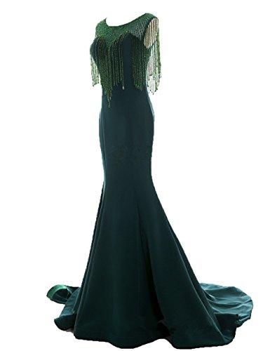 HIDRESS Women's Curtain Beading Host Dress Slim Fishtail Prom Dress BQ035 Size 2 Green (Beading Curtain)