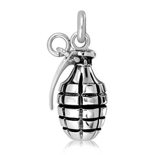 WithLoveSilver Solid 925 Sterling Silver Charm Hand Grenade - Hand Pendant Silver