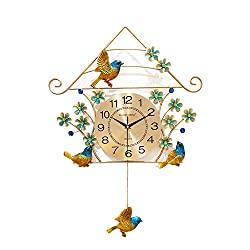SHIJIAN Bird Art Wall Clock Metal Clock Face Pendulum Clock Design Contemporary Decor for Bedroom Living Room (Color : Style C)
