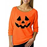 HTHJSCO Ladies' T-Shirt/Easy Halloween Costume Fun Tee, Long Sleeve Sweatshirt Pullover Tops Blouse Shirt (Orange, XL)