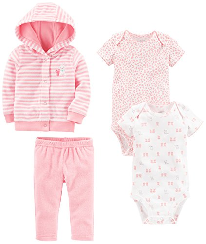 Simple Joys by Carter's Girls Baby 4-Piece Terry Cardigan Set, Pink Kitty, 3-6 Months