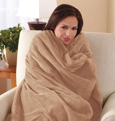 Sunbeam Electric Heated Throw Blanket Microplush Washable with 3-Heat Setting Auto-Off Controller, (Beige) by Sunbeam
