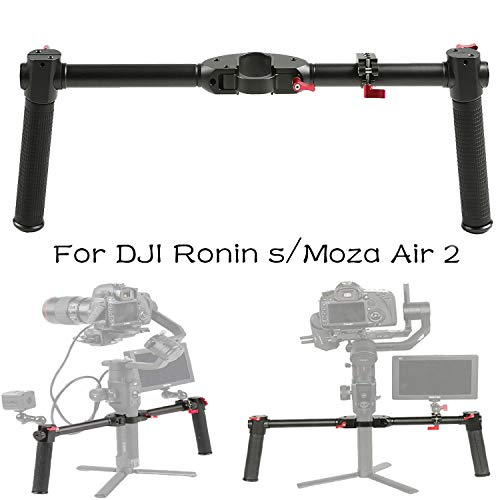 FOTOWELT Dual Handle Grip Handheld Handlebar Kit with 1/4 Screw Connector Compatible with DJI Ronin-S/Moza Air 2 Handheld Gimbal Stabilizer
