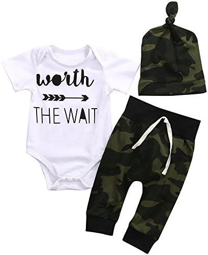 Juego de ropa de 3 piezas para bebés recién nacidos enterito con letras estampadas + pantalones camuflados + gorra