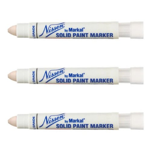 Nissen Solid Paint Markers - 3 Pack - White Nissen Standard Industrial Grade Solid Paint Markers, 28770
