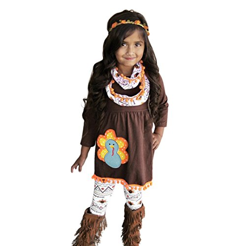 Toddler Little Girls Thanksgiving Dress,FEITONG Dress Tops+Pants Outfit Set (2Years, Brown)