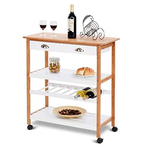 (Giantex Rolling Kitchen Trolley Cart w/Drawers & Shelf Bamboo Home Restaurant Mobile Island Utility Cart w/Wheels)