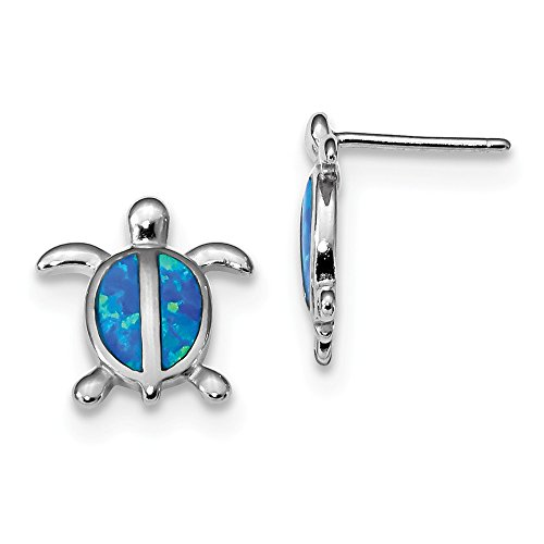 925 Sterling Silver Blue Created Opal Turtle Post Stud Earrings Animal Sea Life Fine Jewelry Gifts For Women For Her ()