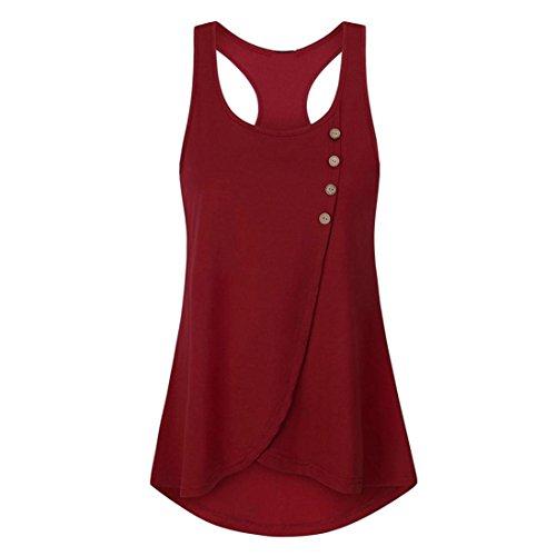Punta Unita Tinta Sanfashion Rot A shirt Con Bottoni Tonda T Bekleidung Donna XYrqX8