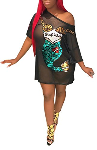 (Speedle Women Casual Short Sleeve Digital Sequin Mermaid Print See Through Loose Tunic T-Shirt Mini Dress Black S)