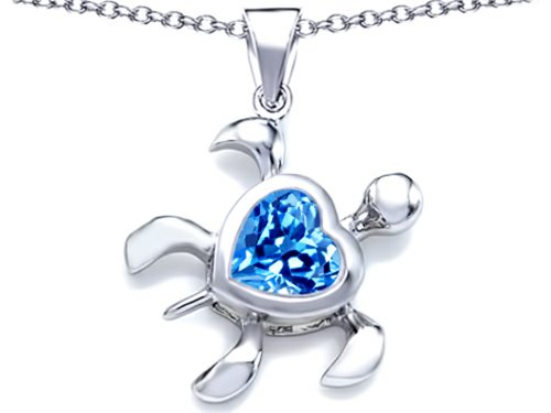Star K 10mm Heart-Shape Simulated Blue-Topaz Sea Turtle - Turtle Necklace Blue