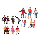 Fenteer 12pcs 1:87 Painted People Figure Sitting & Climbing Postures for Train Park Model Diorama Decorations