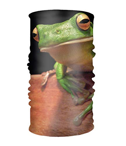 - Women' Soft Stretch Headband Animal White Lipped Tree Frogs Head Wrap Turban Scarf