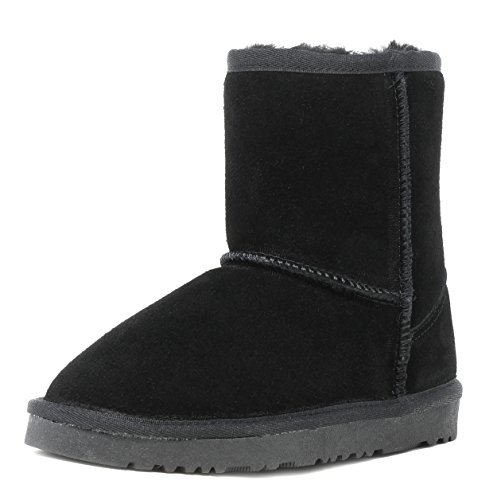 Dream Pairs Big Kid Shorty K Black Sheepskin Fur Winter Snow Boots Size 5 M Us Big Kid
