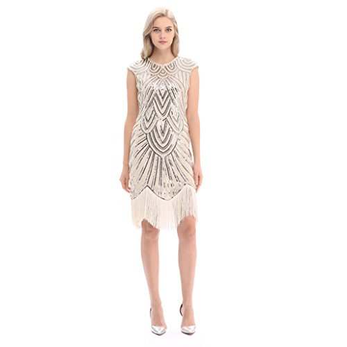 [Pilot-trade Women's Vintage 1920s gatsby Look Flapper Swing Fringe Cocktail Party Dress XXL] (Latin Costumes Dresses)