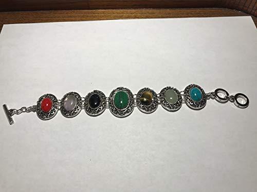 - Natural Multi Gemstone Ovals Adjustable Link Toggle Bracelet
