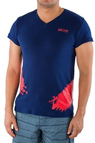 Cavalli Men Shirt - Just Cavalli Men Fitted T-Shirt Designer V-Neck Tee Navy 100% Cotton