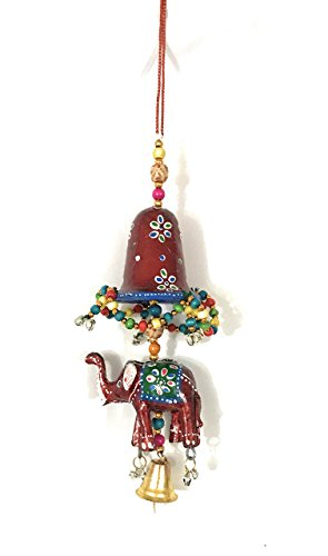 Handmade decorative/ornamental elephant hanging/ door string,15 inches, Bell with an elephant strung in colorful beads, Gift box pack (Bell Strings)