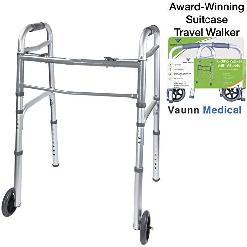 - Vaunn Medical Two Button Folding Walker with Wheels, Adjustable Height and Detachable Legs