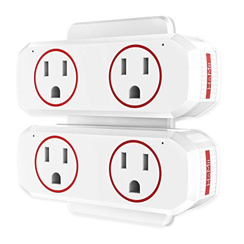 HoMii P1  Smart Plug Wifi Outlet Dual Socket Compatible with Alexa, Google Home & IFTTT, Remote Control and Timer Function, No Hub Required, ETL Listed - 2 pack