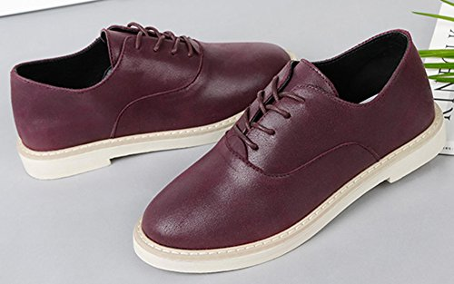 Idifu Mujeres Casual Acentuado Bajo La Parte Superior Tacones Gruesos Lace Up Oxfords Zapatos Wine Red