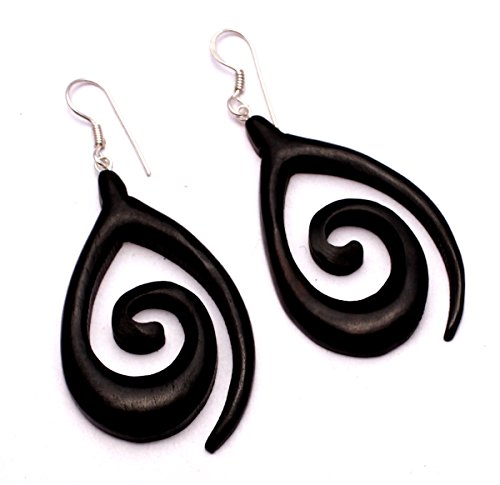 [A Pair of Black Earrings Coco Wood Wooden Boho Hippie Danglers Earrings Aisew_1045] (Fancy Dress Krishna Costume)