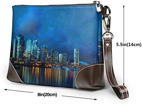 GLGFashion Pochette en cuir Sac à main Bourse Women's Leather Wristlet Clutch Wallet Toronto Of Night Storage Purse With Strap Zipper Pouch