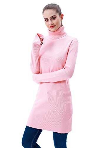 MEEFUR Spring Casual Stretchy Tunic Long Pullover Ribbed Turtleneck Tops Sweater Soft Dress Knitwear For Women Pink
