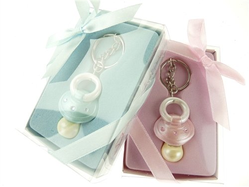 (Firefly Imports Baby Shower Party Favor Baby Pacifier Key Chain, Light Pink )