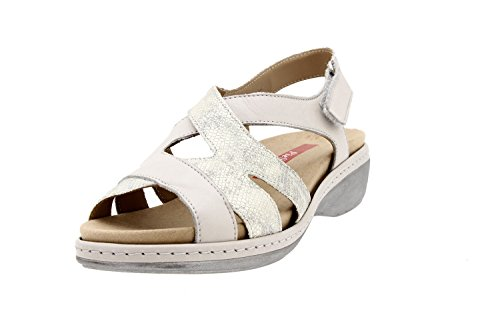 Komfort Damenlederschuh Piesanto 8813 sandale klettverschluss herausnehmbaren einlegesohlen bequem breit Perlfarben